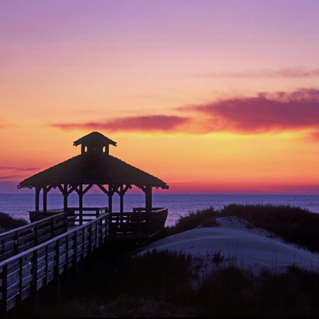 """""""Beachfront gazebo at sunrise, Outer Banks, North Carolina"""" stock image"""