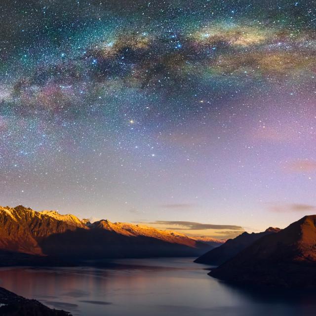 """Galactic Kiwi over Queenstown"" stock image"
