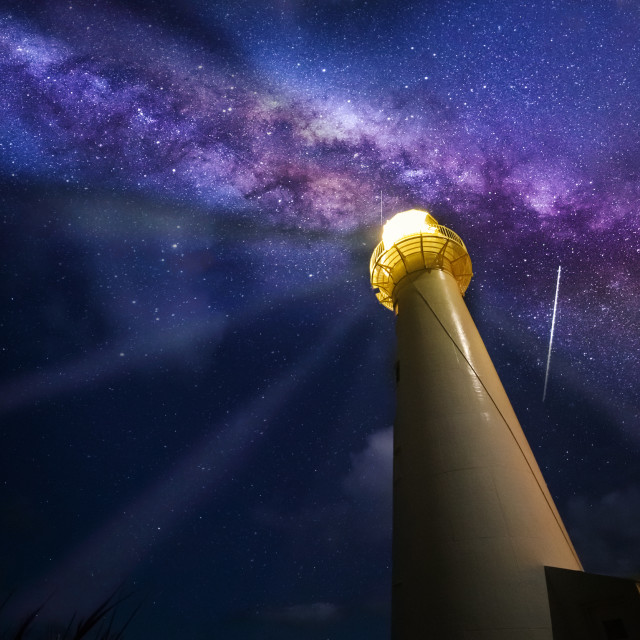 """Milkyway over Castlepoint Lighthouse"" stock image"