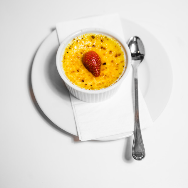 """Top view shot of Creme Brule"" stock image"