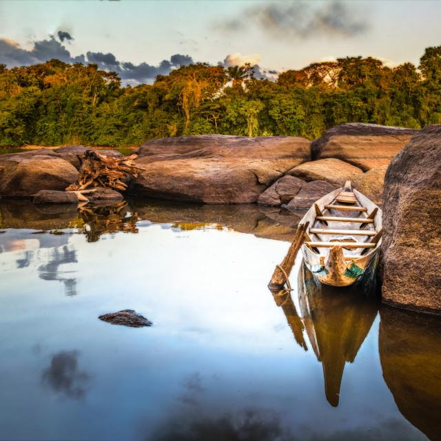 """Canoe in the Surinam river"" stock image"