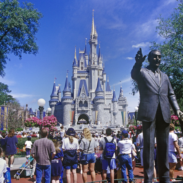"""Walt Disney statue and magical Kingdom, Orlando, Florida, USA"" stock image"