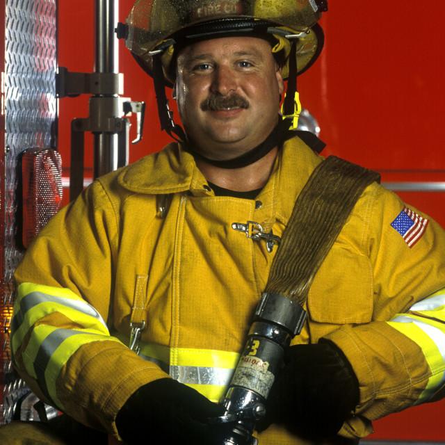"""Portrait of a fireman."" stock image"