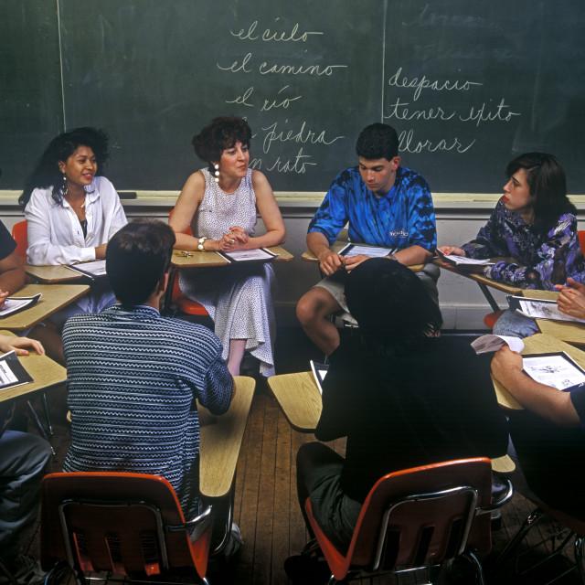 """Classroom scene, language class."" stock image"