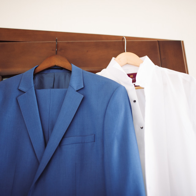"""Groom's nice tuxedo suit at morning preparations"" stock image"