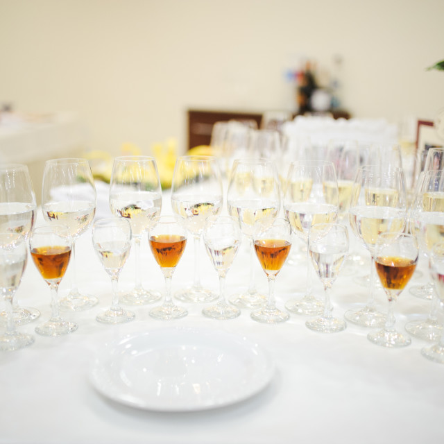 """""""drink glasses at a wedding reception party"""" stock image"""