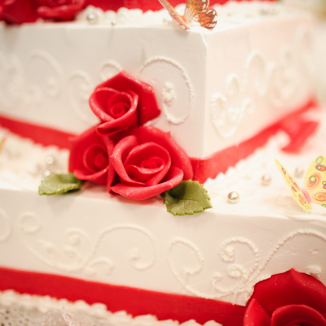 """sweet Wedding cake decorated with beautiful flowers."" stock image"