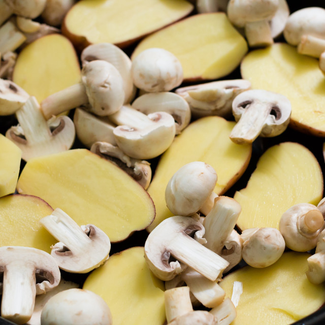 """Mushrooms with Potatoes ready for grill"" stock image"
