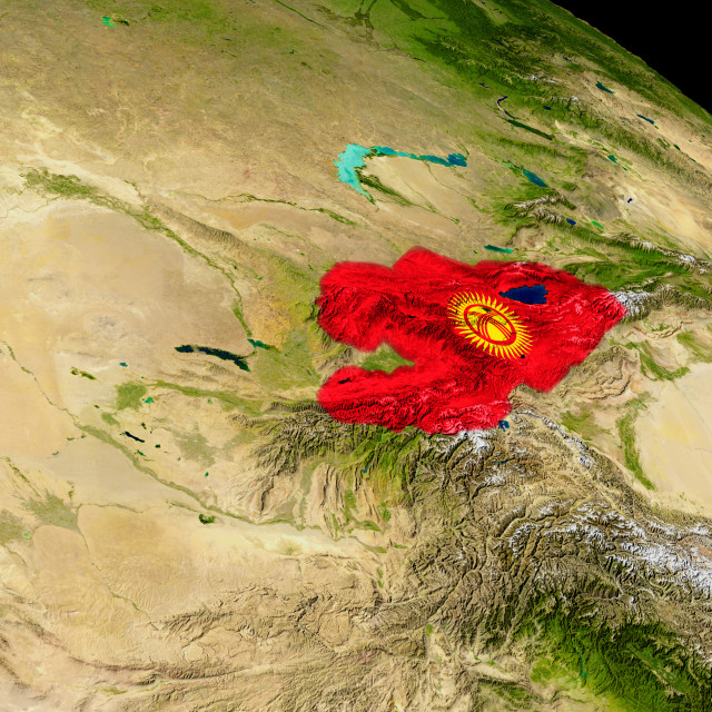 """""""Kyrgyzstan with flag on Earth"""" stock image"""