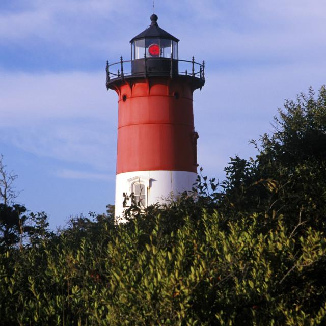 """Nauset Light lighthouse, Cape Cod National Seashore, Eastham, Cape Cod"" stock image"