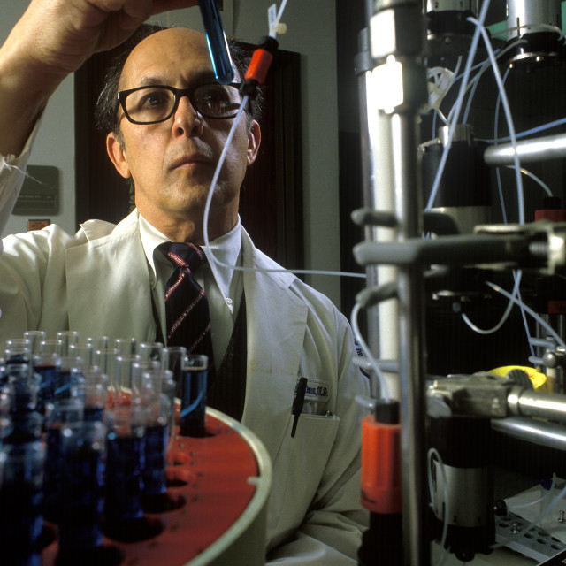 """""""Research scientist conducting an experiment."""" stock image"""