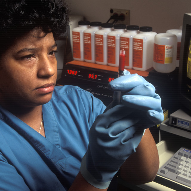 """Technician in a blood gas lab."" stock image"