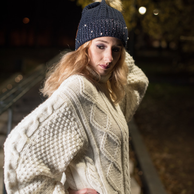 """young woman in sweater"" stock image"