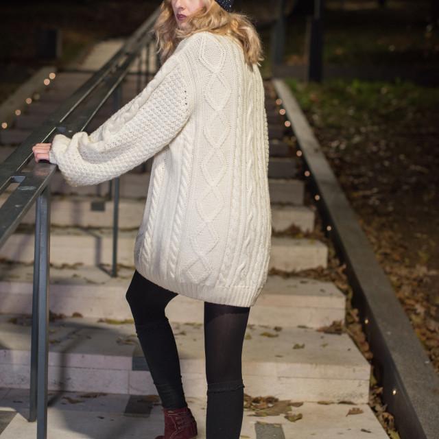 """girl climbing steps"" stock image"