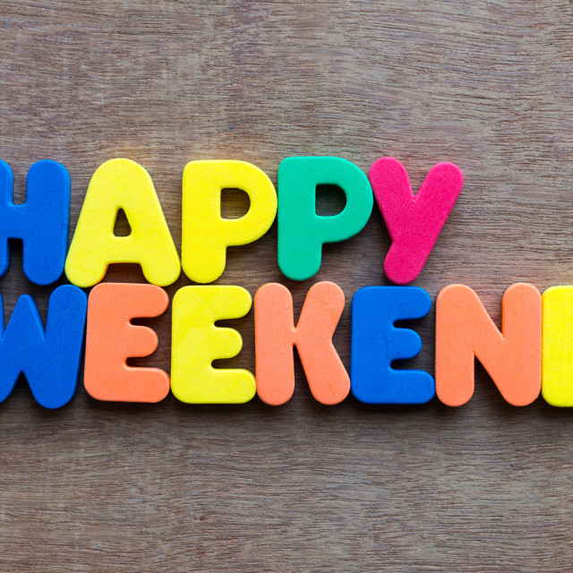 """happy weekend words in wood background"" stock image"