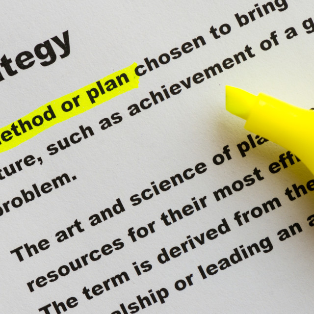 """The word Strategy highlighted"" stock image"