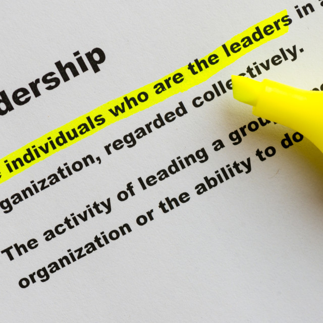 """Definition of the word Leadership"" stock image"