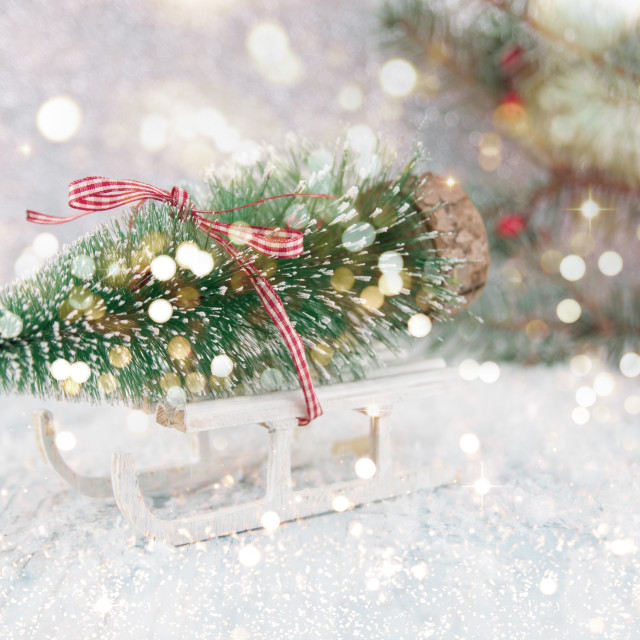 """""""Small sleigh carrying a Christmas tree miniature"""" stock image"""