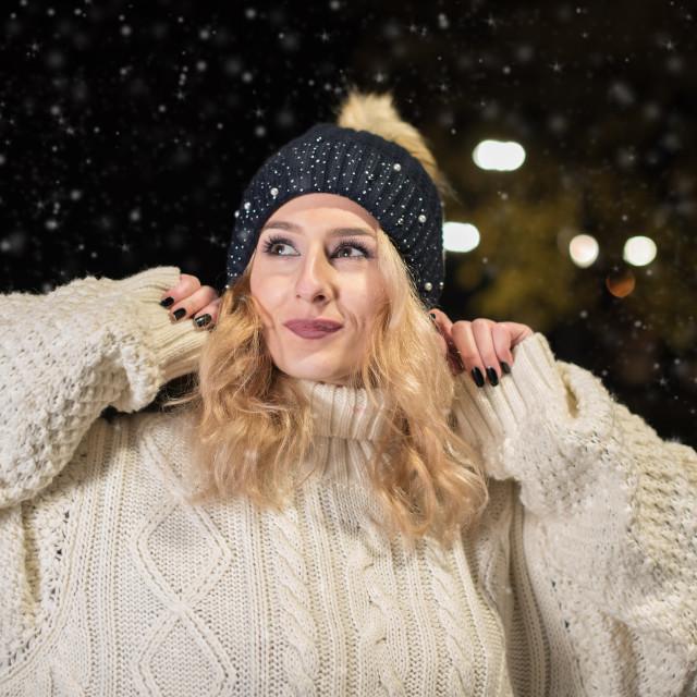 """""""happy girl on snow"""" stock image"""