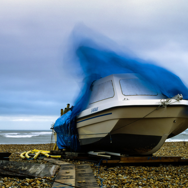 """Boat on a windy day"" stock image"