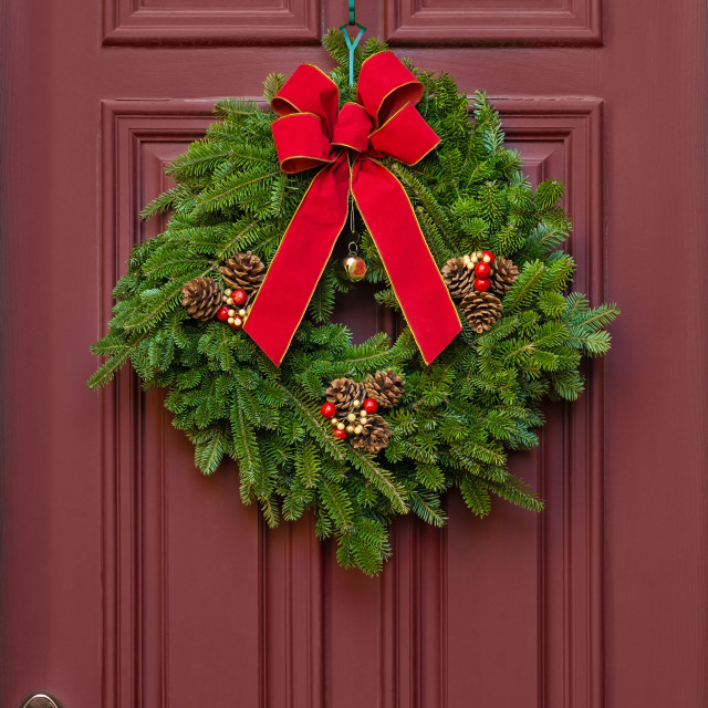 """""""Christmas wreath on a red wooden door"""" stock image"""