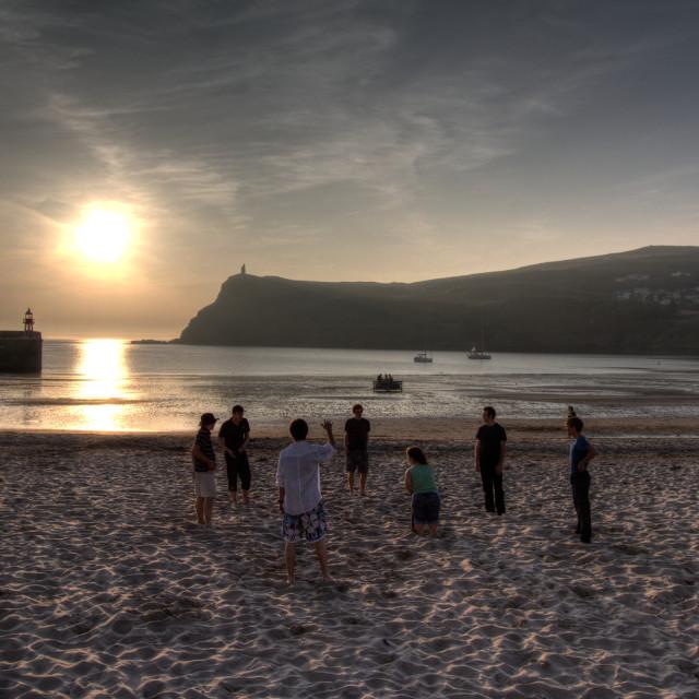 """Port Erin sunset, Isle of Man"" stock image"