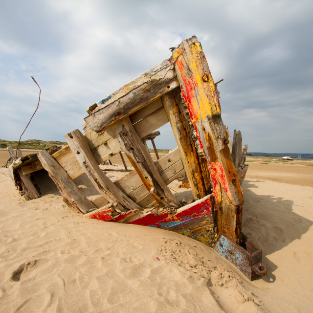 """Boat at Braunton Burrows"" stock image"