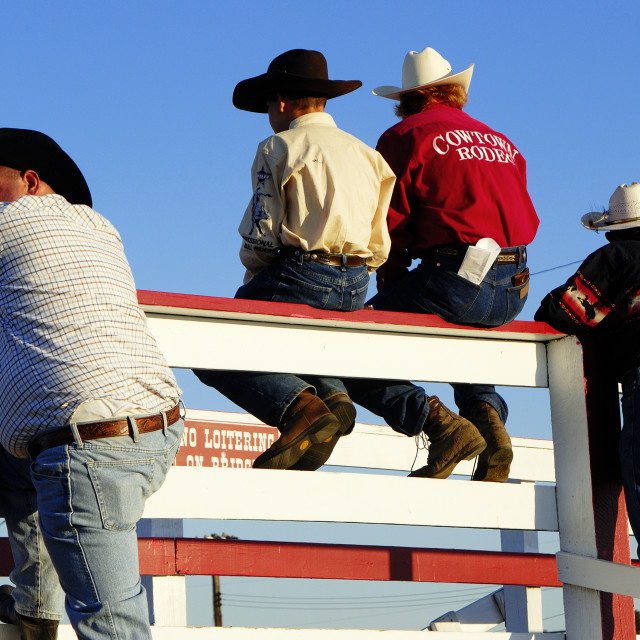 """Cowboys at the rodeo, Cowtown, New Jersey"" stock image"
