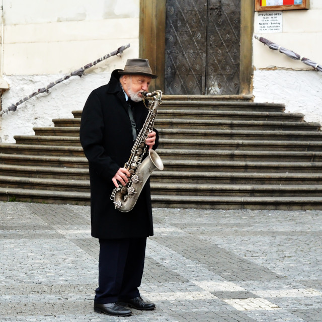 """An Old Busker"" stock image"