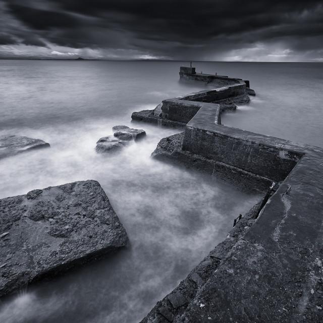 """St Monan's Sea Break"" stock image"