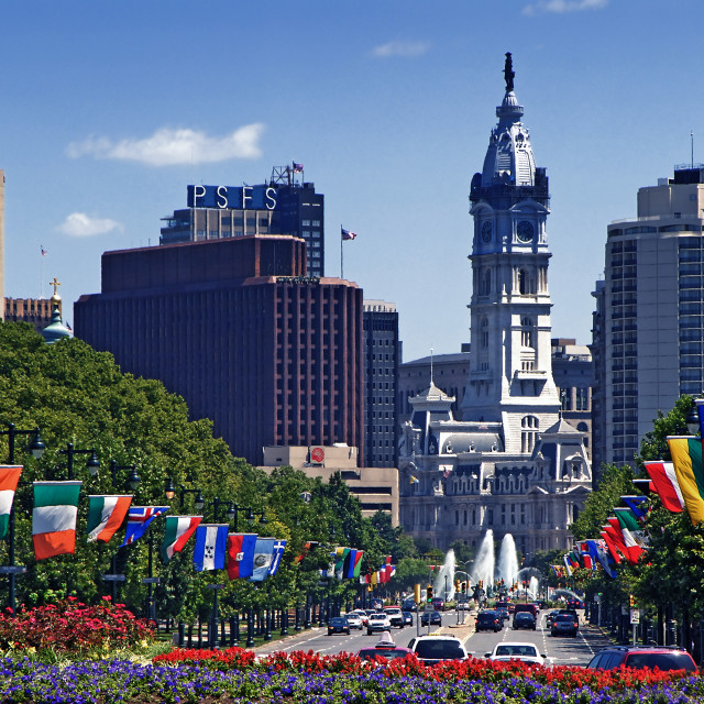 """""""City Hall and Ben Franklin Parkway with international flags, Philadelphia, Pennsylvania"""" stock image"""