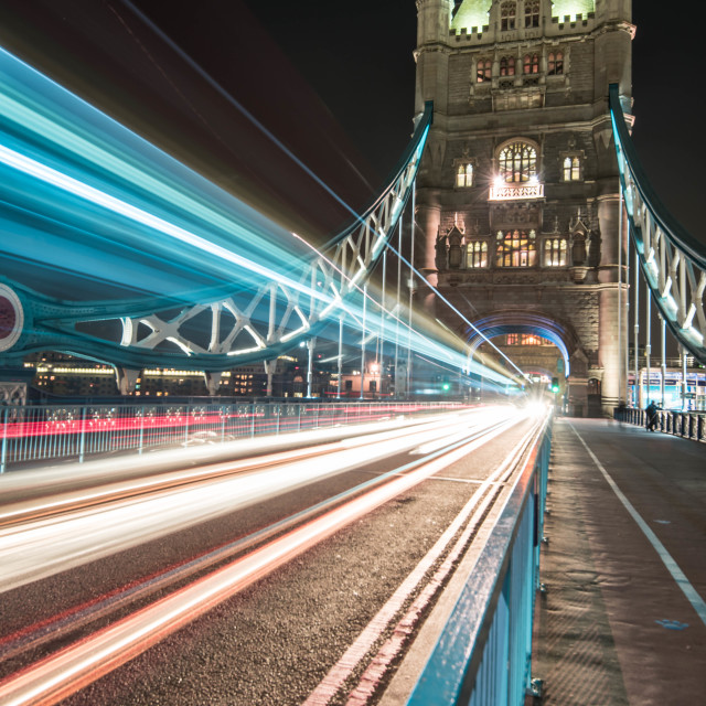 """Streaming Lights on Tower Bridge"" stock image"