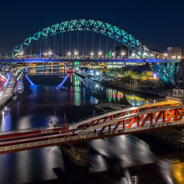 """Tyne Bridge & Swing Bridges at Night"" stock image"