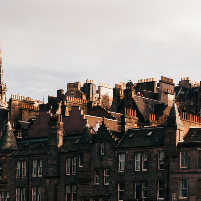 """Chimneys of Edinburgh Old Town"" stock image"