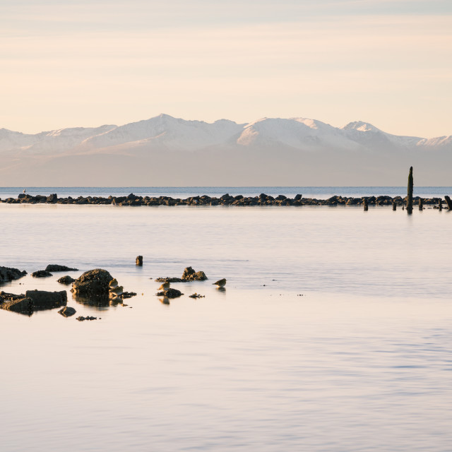 """Snow-clad Arran"" stock image"