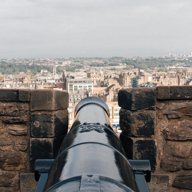 """Cannon at Edinburgh Castle"" stock image"