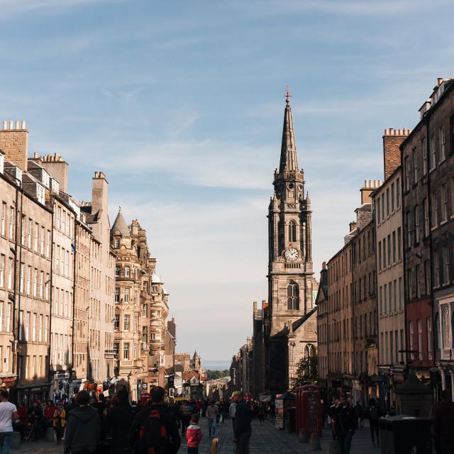 """Edinburgh Old Town Highstreet (Lower)"" stock image"