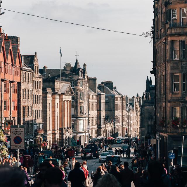"""Edinburgh Old Town Highstreet (Upper)"" stock image"