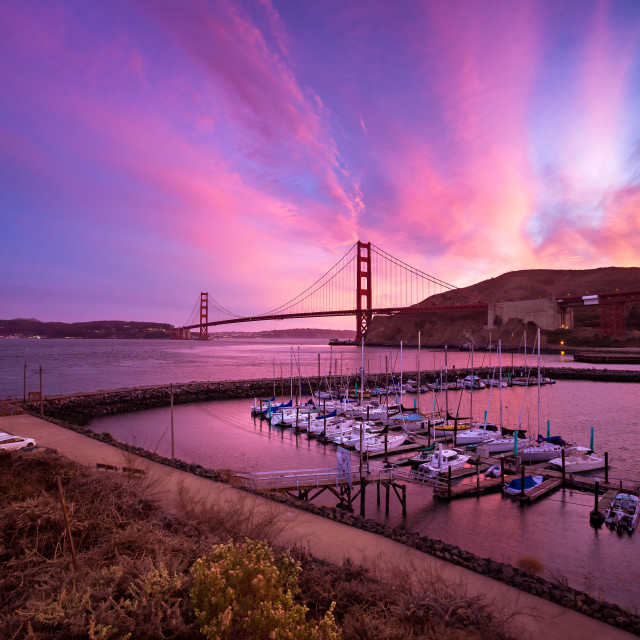 """Horseshoe Bay and Golden Gate Bridge"" stock image"