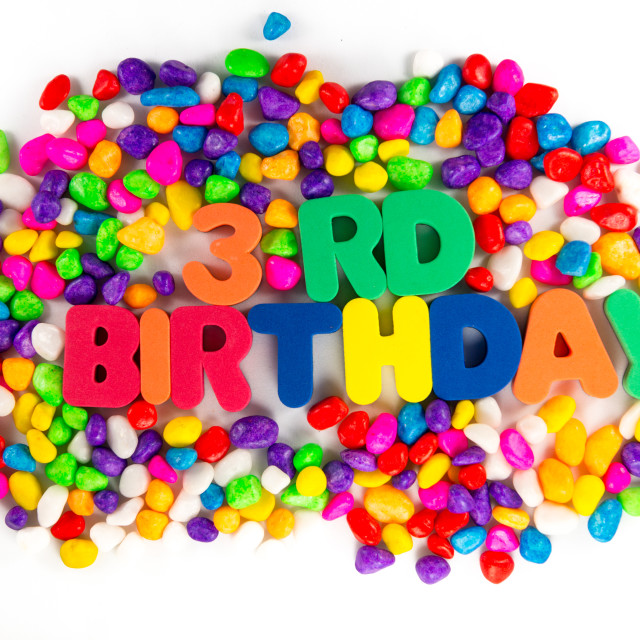 """""""third birthday word in colorful stone"""" stock image"""