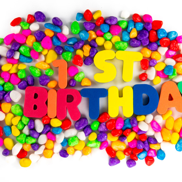 """""""Happy First Birthday words"""" stock image"""