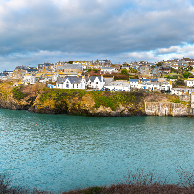 """Panoramic view of Port Isaac"" stock image"
