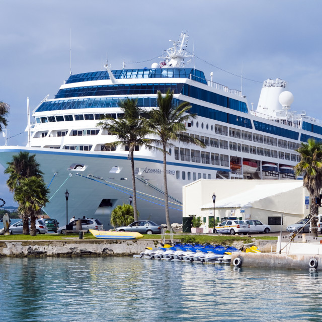 """Celebrity cruise ship docked in St George, Bermuda"" stock image"