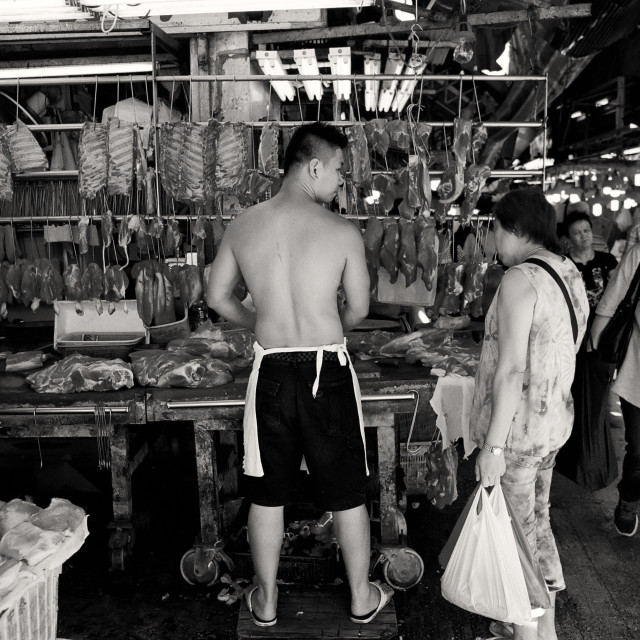 """Meat Stall in Hong Kong"" stock image"