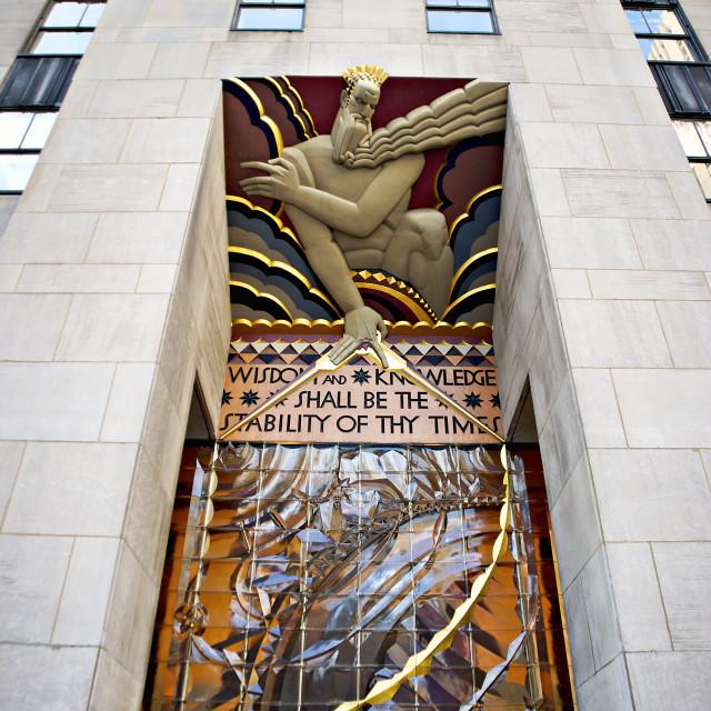"""""""General Electric Building facade, Rockefeller Center, NYC, USA"""" stock image"""