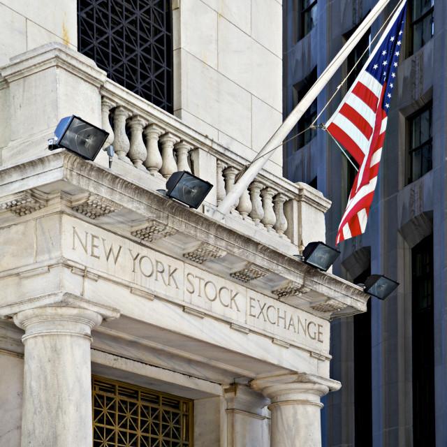 """New York Stock Exchange building, Wall Street, NYC, New York"" stock image"