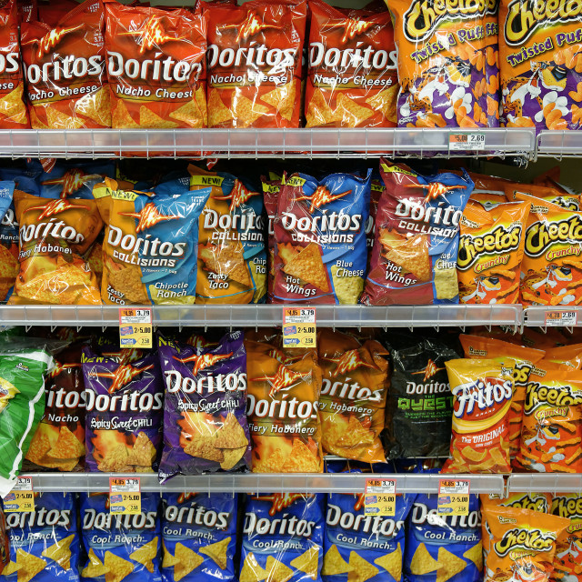 """""""Junk food section of a supermarket."""" stock image"""