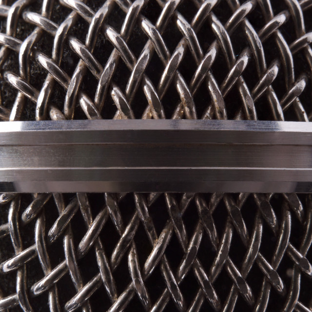"""""""Detail of silver metal microphone grille"""" stock image"""