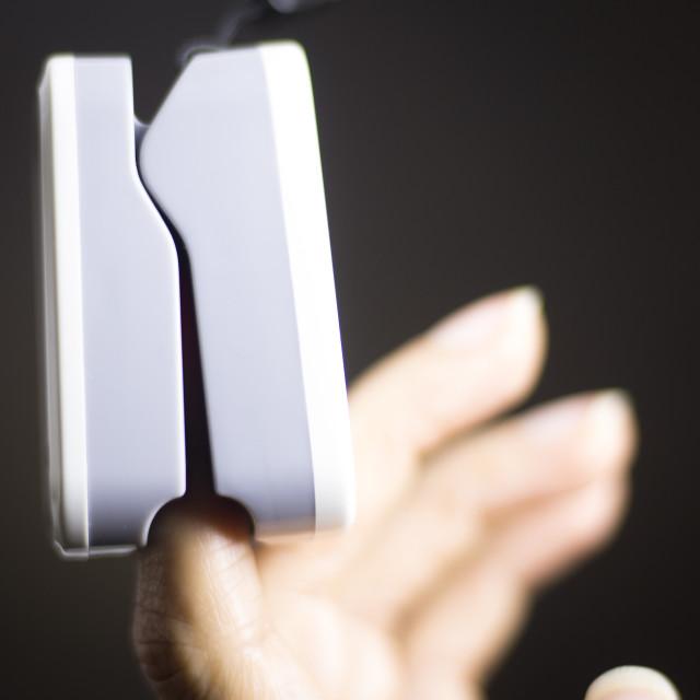 """Cardiac finger pulse meter"" stock image"