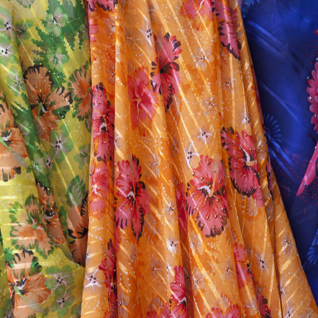 """""""Colourful material in the textile shop"""" stock image"""